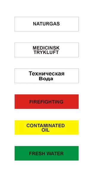 Teksttalon til 80 mm rørmærkning med transperent pil